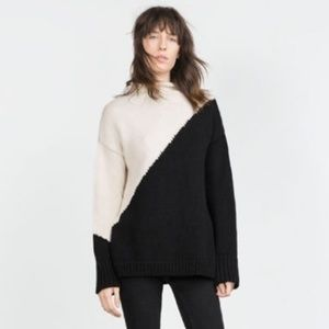 Zara Color Block Mock Neck Sweater